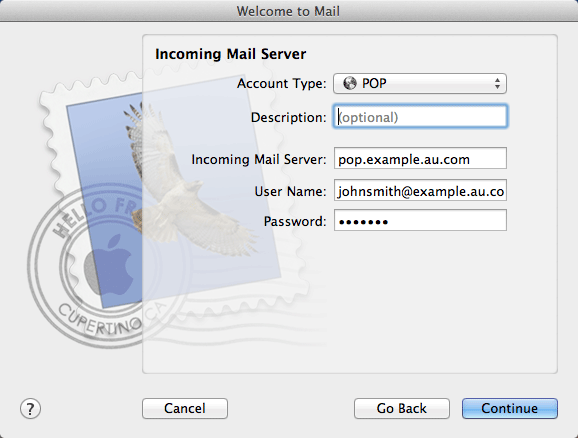 Set up Mac OSX Mail on cPanel